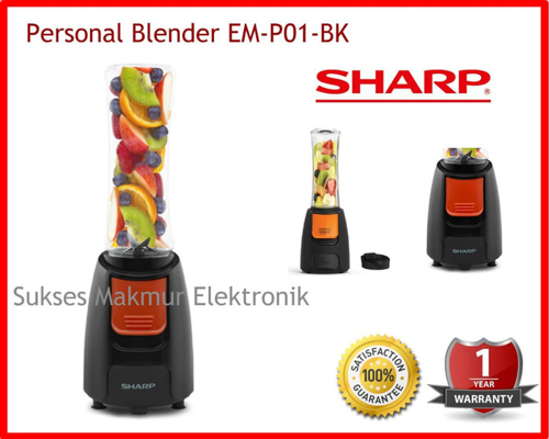 Sharp Personal Blender EM-P01-BK, Daya 240 Watt, Cap. 0.6 L
