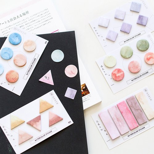 Watercolor Shapes Sticky Notes / Notes Tempel / Catatan Tempel