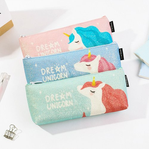 Dream Unicorn Glitter Pencil Case / Tempat Alat Tulis / Tempat Pensil