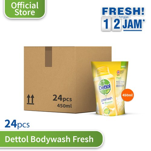 DETTOL Body Wash Fresh 450 ml Pouch - 24 pcs