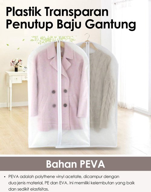 Plastik Transparan Penutup Baju Gantung 60x125cm