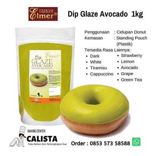 Elmer Dip Glaze Avocado 1kg - Celupan Donut (Topping Donut), Isian Roti dan Cookies, Topping Banana Nugget, Brownies, Kue Pie.