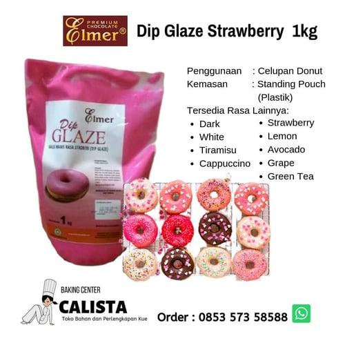 Elmer Dip Glaze Strawberry 1kg - Celupan Donut (Topping Donut), Isian Roti dan Cookies, Topping Banana Nugget, Brownies, Kue Pie.
