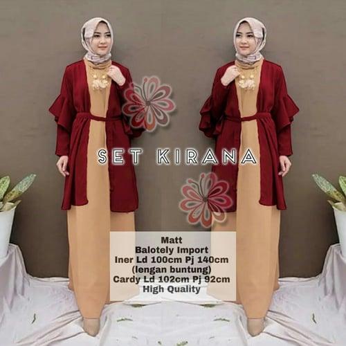 Terlaris Gamis Kirana 2in1 Maxi Dress Syari Muslimah Model Casual Terkini
