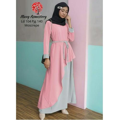 Terlaris Gamis Asmetery Busui Maxi Dress Syari Muslimah Model Casual Terkini