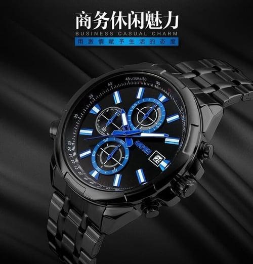 Jam Tangan Pria Analog SKMEI 9107 Black Black Water Resistant 30M