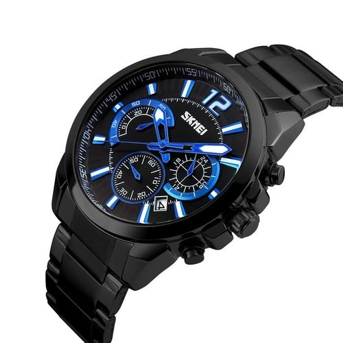 Jam Tangan Pria Analog SKMEI 9108 Black Black Water Resistant 30M CS
