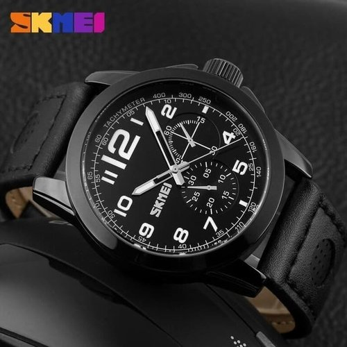 Jam Tangan Pria Analog SKMEI 9111 Black Water Resistant 50M