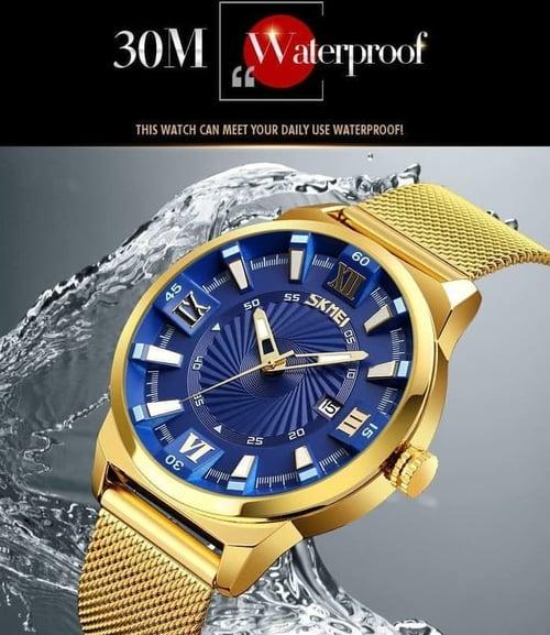 Jam Tangan Pria Analog SKMEI 9166 Blue Water Resistant 30M
