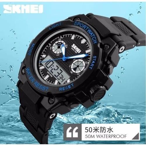 Jam Tangan Pria Digital Analog SKMEI 1217 Black Blue Water Resist 50M