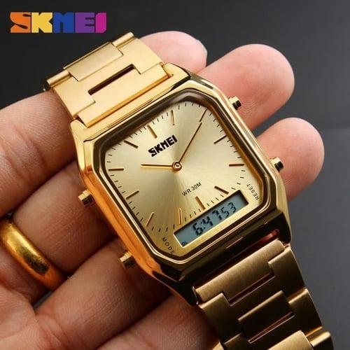 Jam Tangan Pria Digital Analog SKMEI 1220 Gold Water Resistant 30M