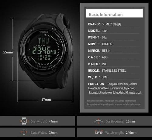 Jam Tangan Pria Digital Compass SKMEI 1314 Black Water Resistant 50M