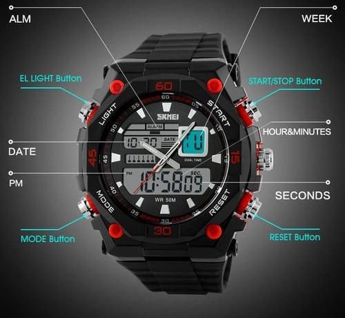 Jam Tangan Pria Digital SKMEI 1092 Black Red Water Resistant 50M