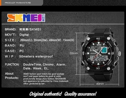 Jam Tangan Pria Digital SKMEI 1092 Black White Water Resistant 50M