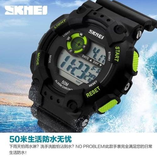 Jam Tangan Pria Digital SKMEI 1101 Black Green Water Resistant 50M