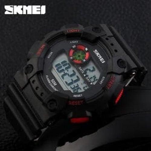 Jam Tangan Pria Digital SKMEI 1101 Black Red Water Resistant 50M