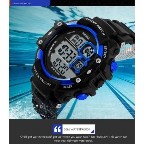 Jam Tangan Pria Digital SKMEI 1118 Black Blue Water Resistant 50M