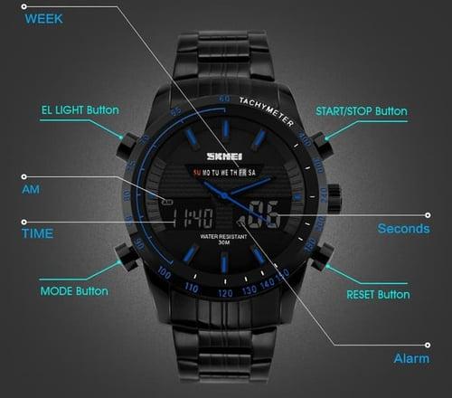 Jam Tangan Pria Digital SKMEI 1131 Black Blue Water Resistant 30M