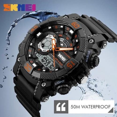 Jam Tangan Pria Digital SKMEI 1228 ORANGE Water Resistant 50m