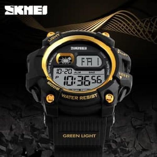 Jam Tangan Pria Digital SKMEI 1229 Gold Water Resistant 50M
