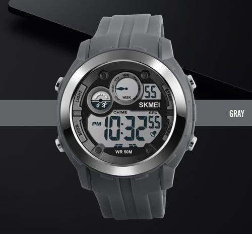 Jam Tangan Pria Digital SKMEI 1234 Grey Water Resistant 50M