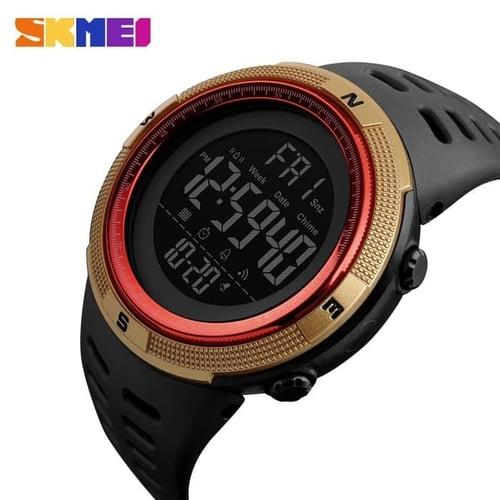 Jam Tangan Pria Digital SKMEI 1251 Gold Red Water Resistant 50M