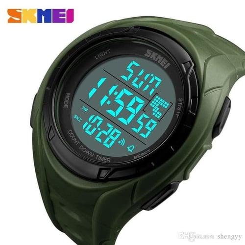 Jam Tangan Pria Digital SKMEI 1313 Green Water Resistant 50M