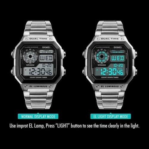Jam Tangan Pria Digital SKMEI 1335 Silver Water Resistant 30m