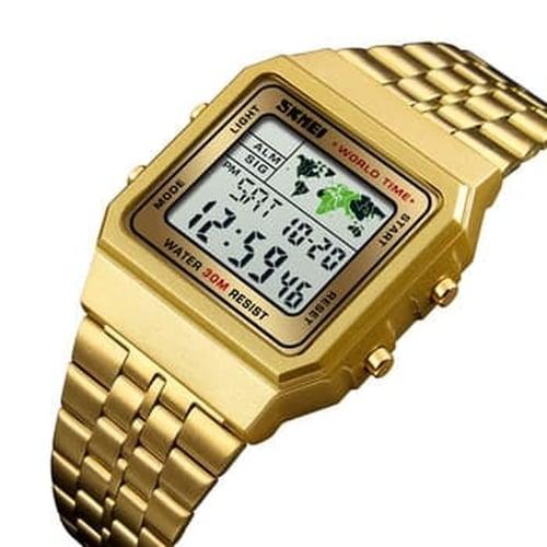 Jam Tangan Pria Digital Skmei 1338 GOLD Water Resistant 30m