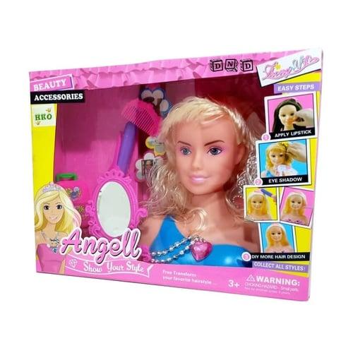 Mainan Anak - Angell Beauty Makeup Doll Boneka Make Up Hair Style