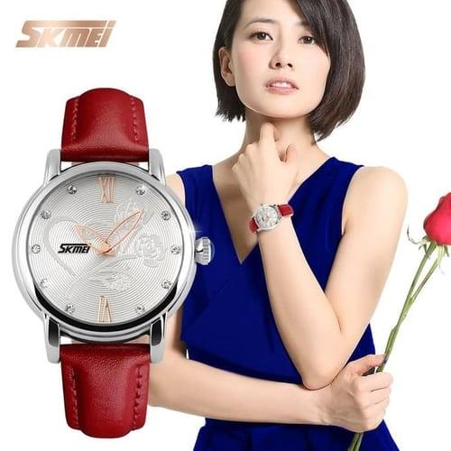 Jam Tangan Wanita Analog SKMEI 9095 Rose Dail Red Water Resist 30M