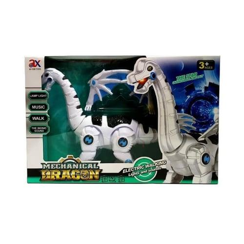 Mainan Anak - Mechanical Dragon Robot Dinosaur Jalan Bersayap Putih