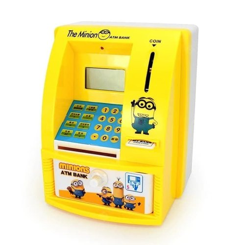 Mainan Edukasi Anak - Celengan ATM Mini Happy Bank Minion Inggris
