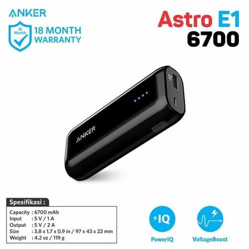 Anker Astro E1 Power Bank 6700mAh Black A1211H15