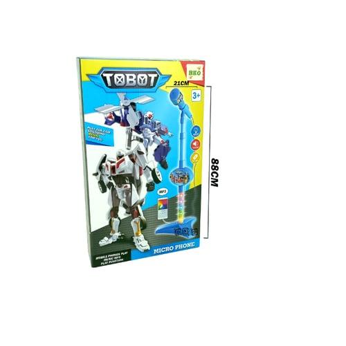 Mainan Anak - Microphone Single Mic Tobot Robot Biru Karaoke Nyanyi