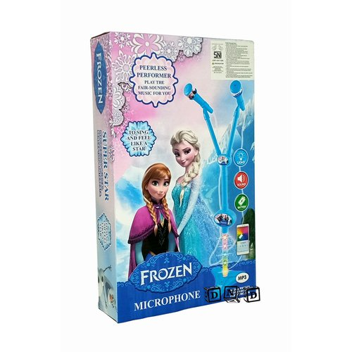 Mainan Anak - Microphone Double Frozen Biru Mic Karaoke Dua Tiang