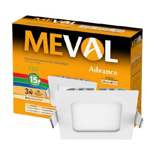 Meval LED Slim Downlight 3W - Square - Kuning