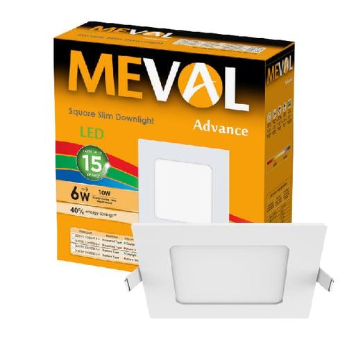 Meval LED Slim Downlight 6W - Square - Putih
