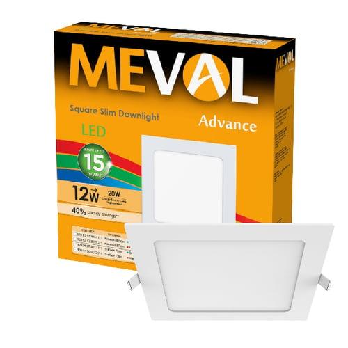 Meval LED Slim Downlight 12W - Square - Putih