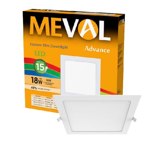 Meval LED Slim Downlight 18W - Square - Putih