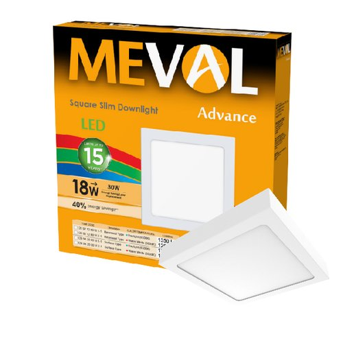 Meval LED Slim Downlight Surface 18W - Square - Kuning