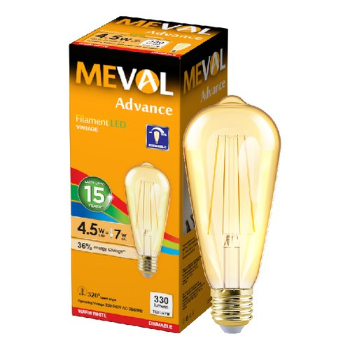 Meval LED Filament Vintage ST64 4.5W - Dimmable - Kuning