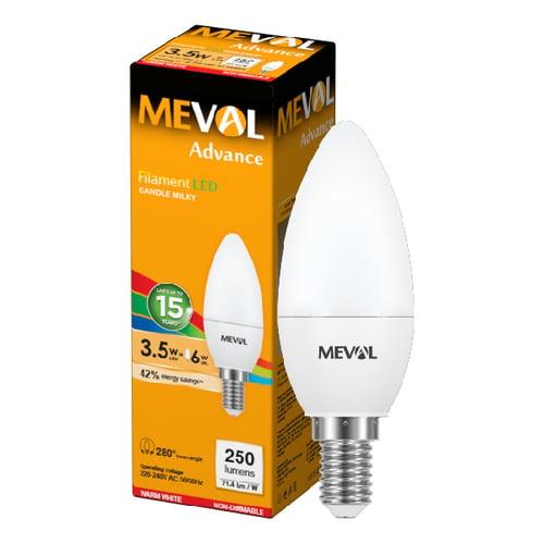 Meval LED Candle Putih Susu 3.5W - E14 - Kuning