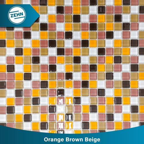 ZEHN Glass Mosaic LG09 Orange Brown Beige 30 x 30 cm
