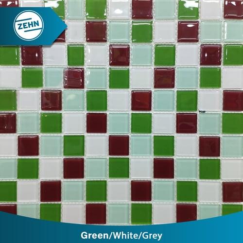 ZEHN Glass Mosaic MC-07 Green White Grey 30x30 cm