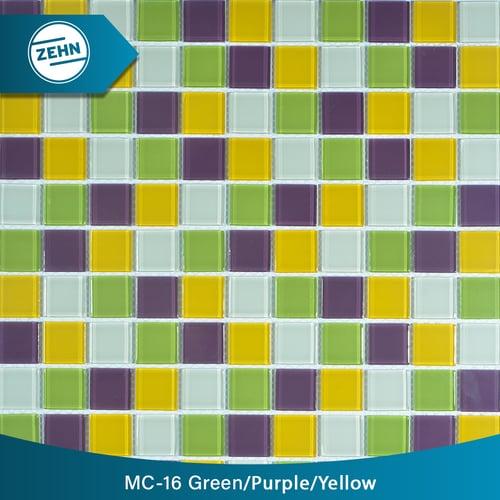 ZEHN Glass Mosaic MC-16 Green Purple Yellow 30x30 cm