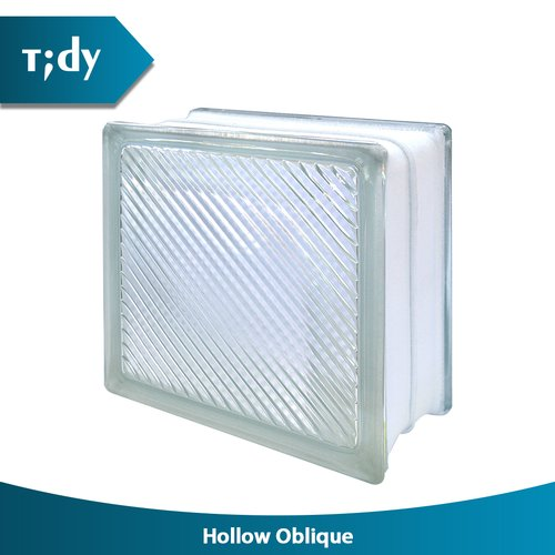 TIDY Glass Block Hollow Oblique Line 8X19X19Cm