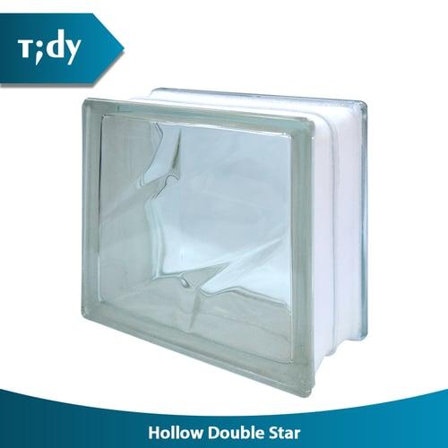 TIDY Glass Block Hollow Double Star 8X19X19Cm