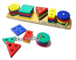 Balok Puzzle Kayu Murah Geo 5 Bentuk - Kids Toys