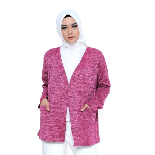 Rimas Siera Open Front Cardigan Muslim Wanita - Maroon Size L